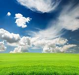 sky with green grass in the field