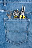 Several tools in jeans pocket