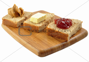 snacks on a cutting board