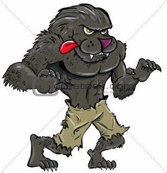 Cartoon werewolf with tongue
