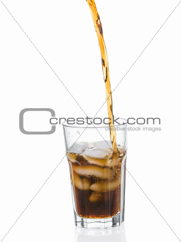 Coke splashing from glass isolated on white background