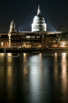 Long exposure of St Paul's cathedral in London at night with ref