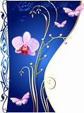 Orchids and butterflies on blue background