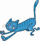 running blue tabby cat