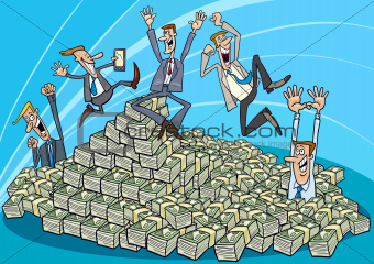 Happy businessmen and heap of money