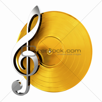 Golden Vinyl With Music Key