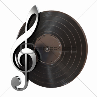 Vinyl Record With Music Key