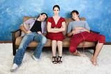 Annoyed Woman and Two Men
