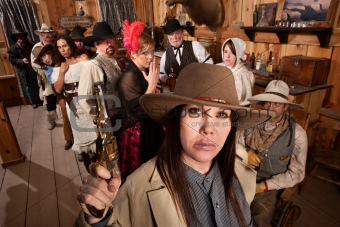 Dangerous Cowgirl in Old Saloon