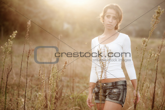 Young Girl in Hayfield