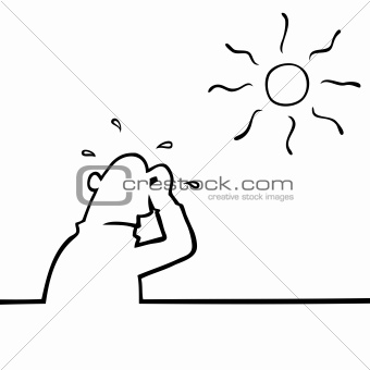 Sweating man in sun