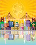 San Francisco City Skyline at Sunrise Illustration