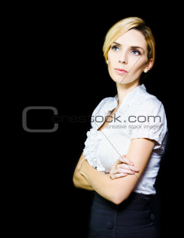 Thinking Business Woman Isolated On Black Background