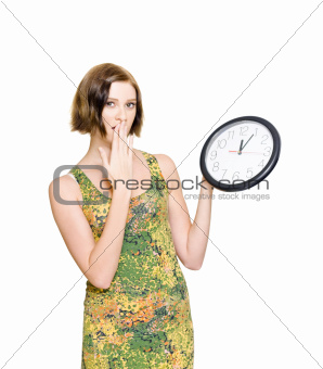 Woman Late For The Time Schedule Deadline