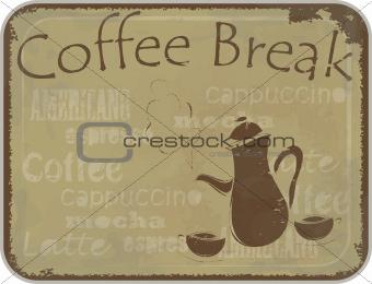 Grunge card coffee break