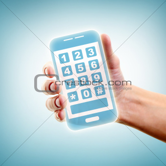 Holding smartphone