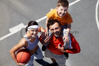 Family on playground
