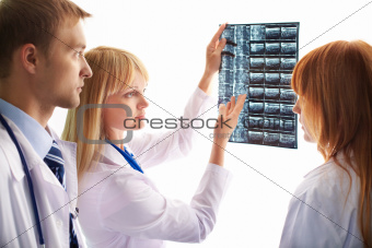 Looking at x-ray photograph