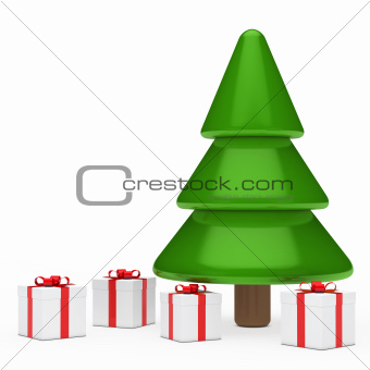 christmas tree and gifts