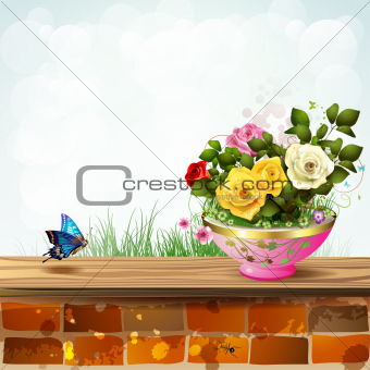 Flowerpot with roses