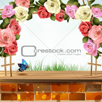 Brick wall with roses