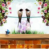 Garden with two swallows