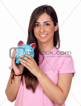 Atractive girl with a blue piggy-bank