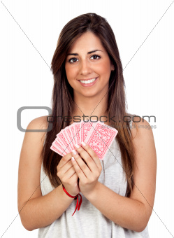 Atractive girl playing cards