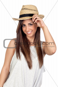 Adorable girl with long hair and straw hat