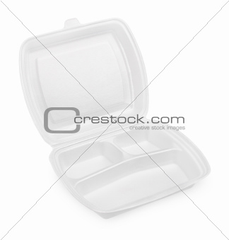Empty white styrofoam meal box