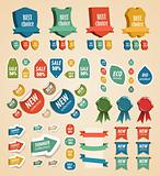 Design vintage elements: tags, stickers, ribbons and other.