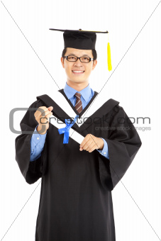 happy graduating  asian student isolated on white