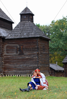 Two female friends in Ukrainian costumes
