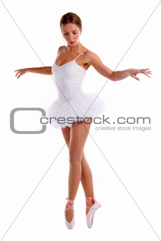 Portrait of ballerina dancing on pointes