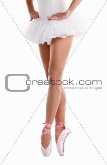 Cropped image of ballerina dancing on pointe