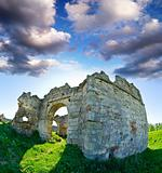 The ruins of an abandoned Pnivsky castle in Ukraine