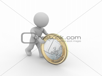 grey figure rolling a one euro coin