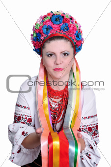Woman in national ukrainian (russian) costume. Portrait.
