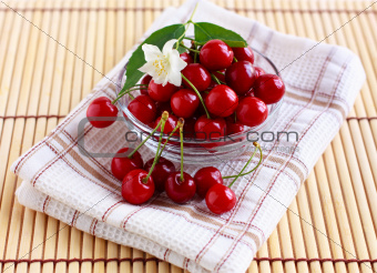 Fresh cherries in a glass cup with jasmine flower