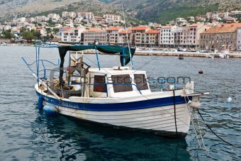 Fisherman Boat Docked at Harbor in Senj, Croatia