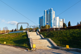Stella Rook and New Building on Volga River in Samara, Russia