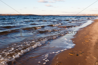 Footprints on Volga Beach in Samara, Russia