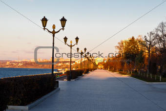 Row of Lampposts on Volga River Embankment in Samara, Russia