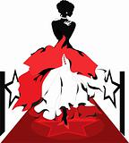 Woman silhouette on a red carpet. Isabelle series