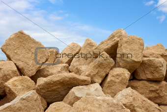 Heap of limestone blocks