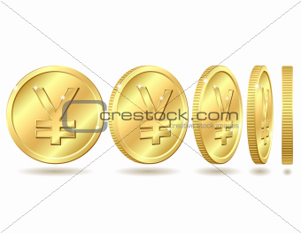 Gold coin with yen sign with different angles.