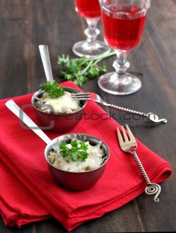 Mushroom julienne in a bowl