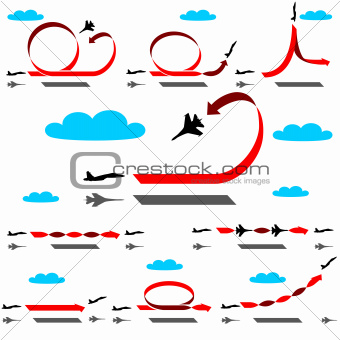 Aerobatics airplane on blue sky background