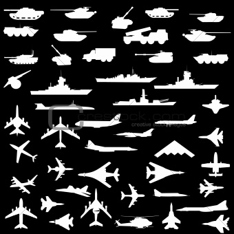 Vector set of aircraft, armored ships and guns.