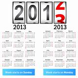 Stylish German calendar  for 2013. In German and English.